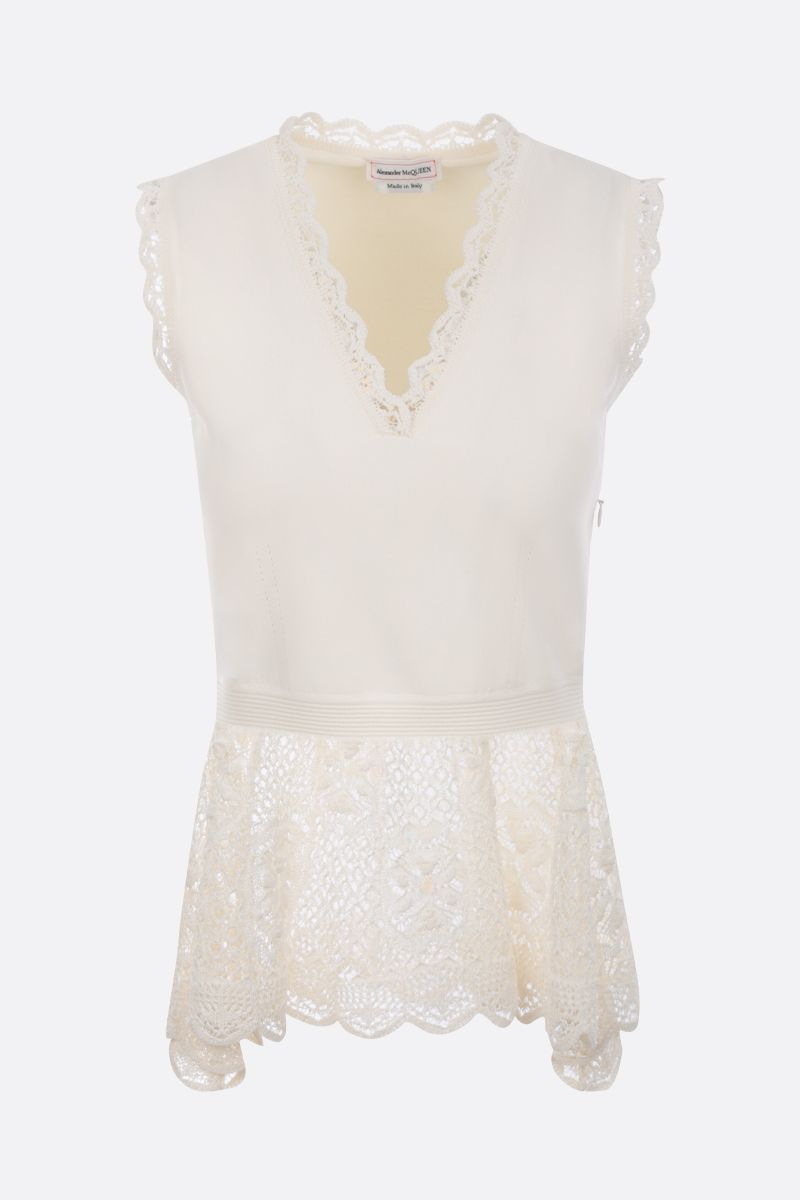 ALEXANDER McQUEEN: stretch knit sleeveless top with lace inserts Color White_1