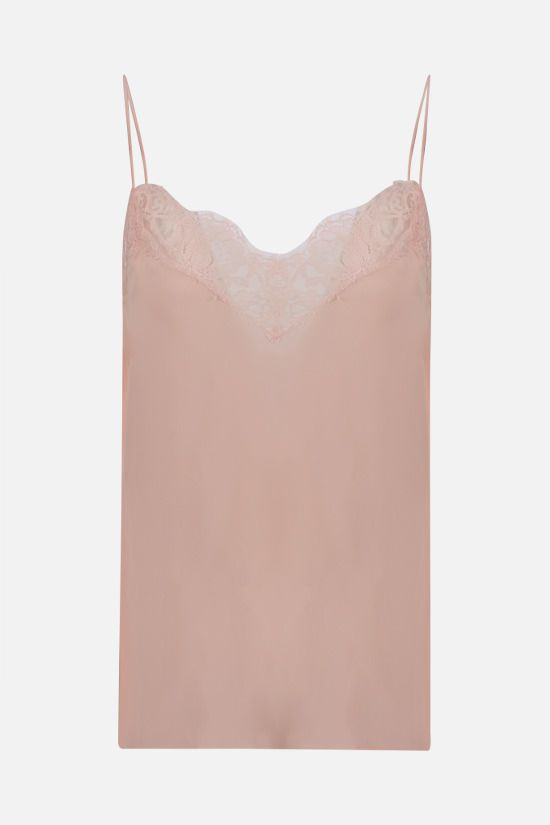 ALEXANDER McQUEEN: lace-trimmed silk top Color Pink_1