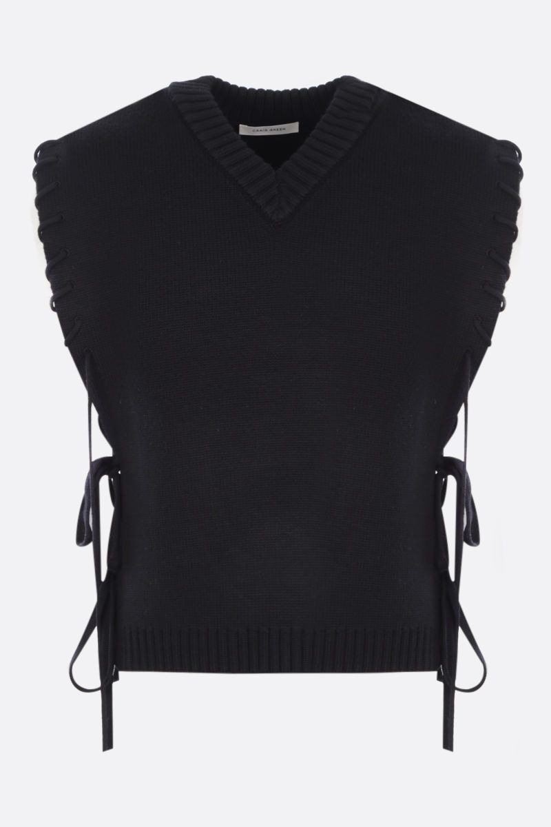 CRAIG GREEN: lace-detailed sleeveless pullover Color Black_1