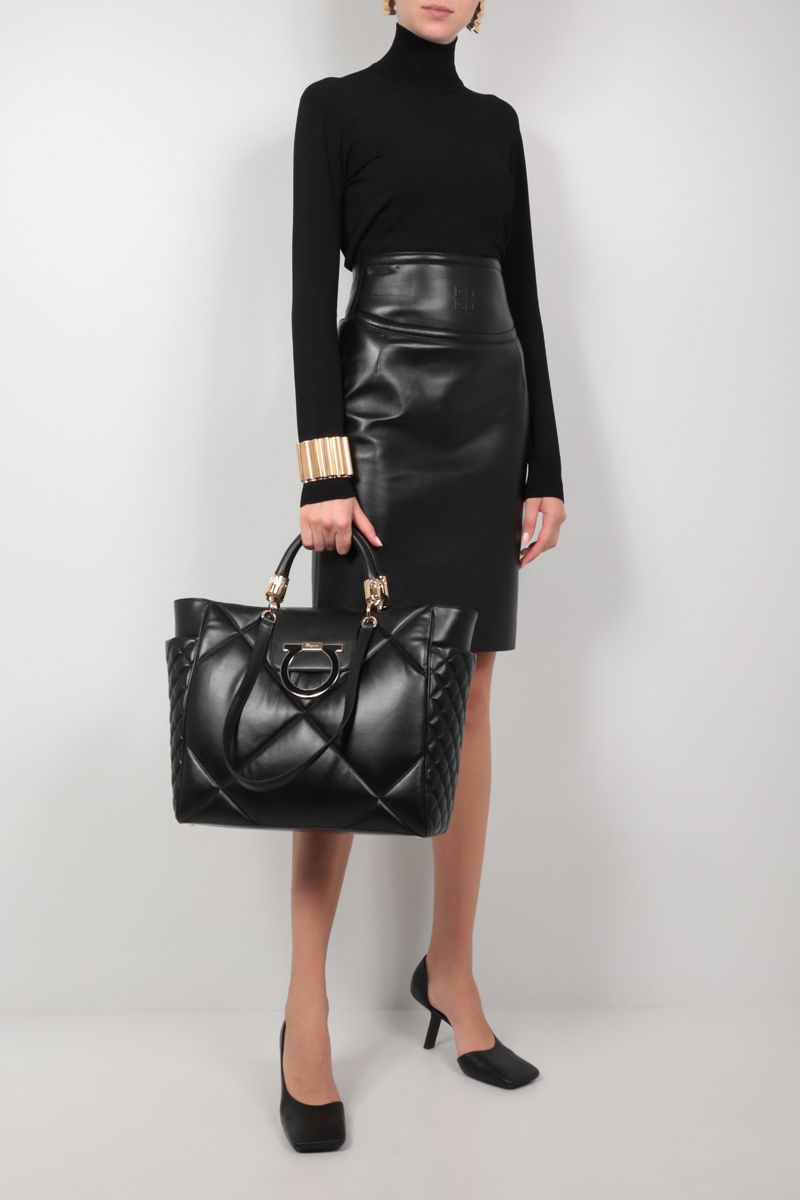 FERRAGAMO'S CREATIONS: quilted leather tote bag Color Black_2