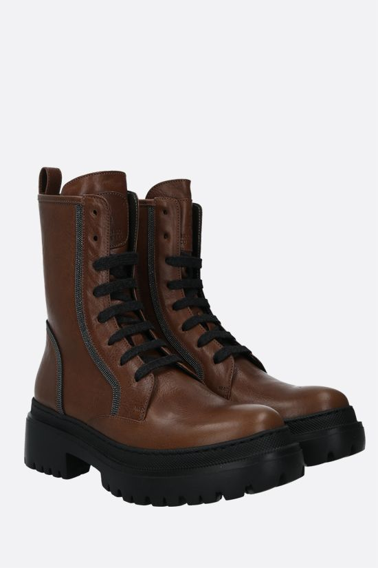 BRUNELLO CUCINELLI: Precious Contour-detailed smooth leather combat boots Color Brown_2