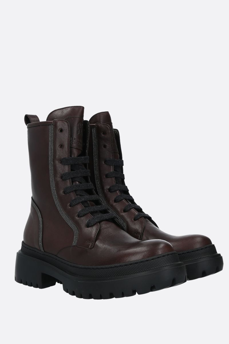 BRUNELLO CUCINELLI: Precious Contour-detailed smooth leather combat boots Color Multicolor_2