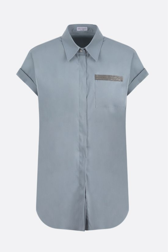 BRUNELLO CUCINELLI: monili-detailed cotton blend short-sleeved shirt Color Grey_1