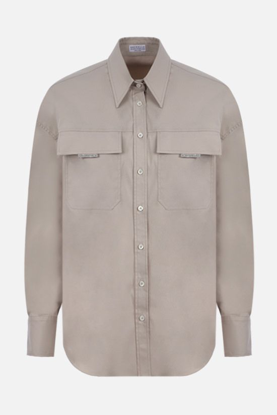 BRUNELLO CUCINELLI: monili-detailed cotton blend shirt Color Neutral_1