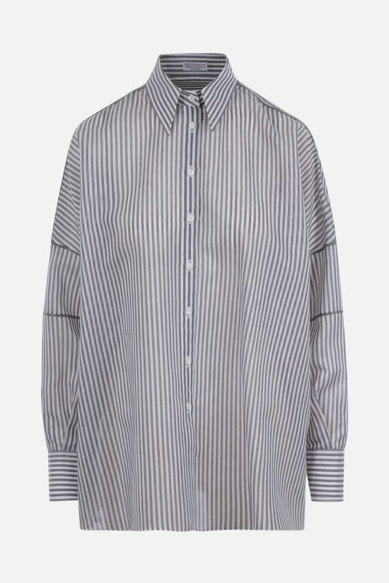 BRUNELLO CUCINELLI: striped cotton silk blend oversize shirt Color Grey_1