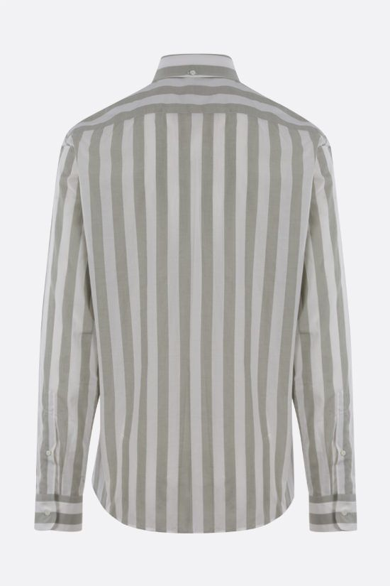 BRUNELLO CUCINELLI: striped cotton shirt Color Brown_2