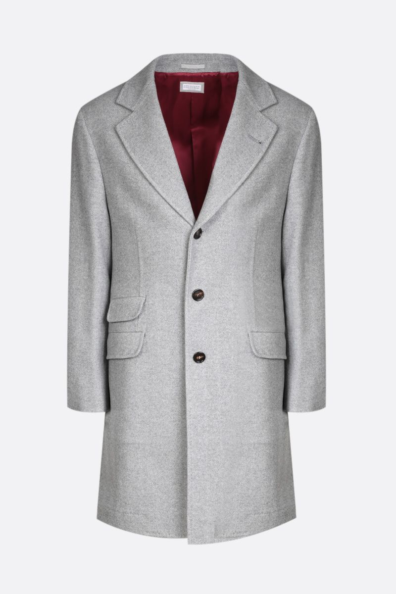 BRUNELLO CUCINELLI: single-breasted cashmere wool blend coat Color Grey_1