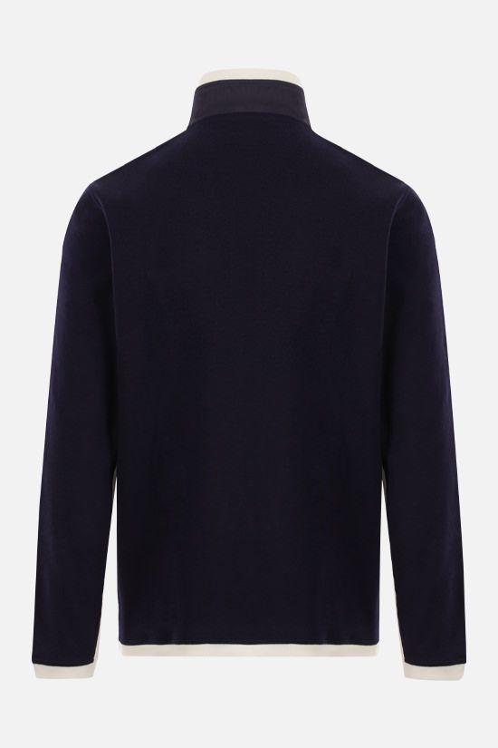 BRUNELLO CUCINELLI: logo print stretch cotton full-zip sweatshirt Color Blue_2