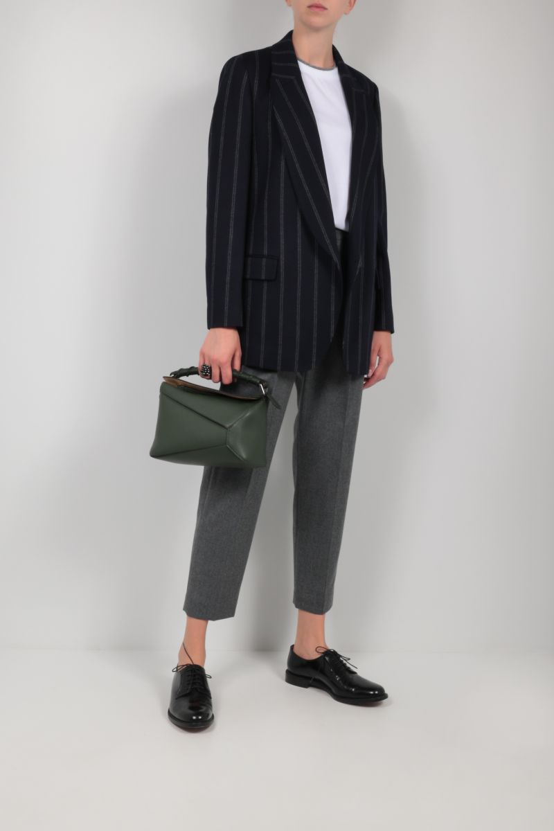 BRUNELLO CUCINELLI: double-breasted pinstriped cotton wool blend jacket Color Blue_2
