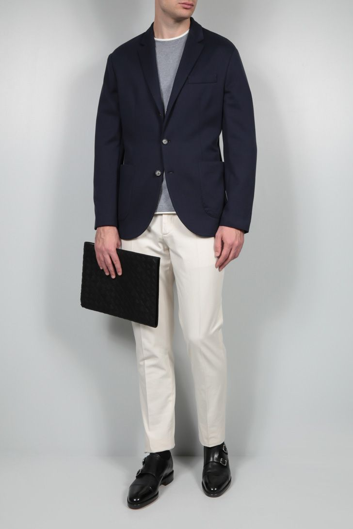 BRUNELLO CUCINELLI: single-breasted silk cotton blend jacket Color Blue_2
