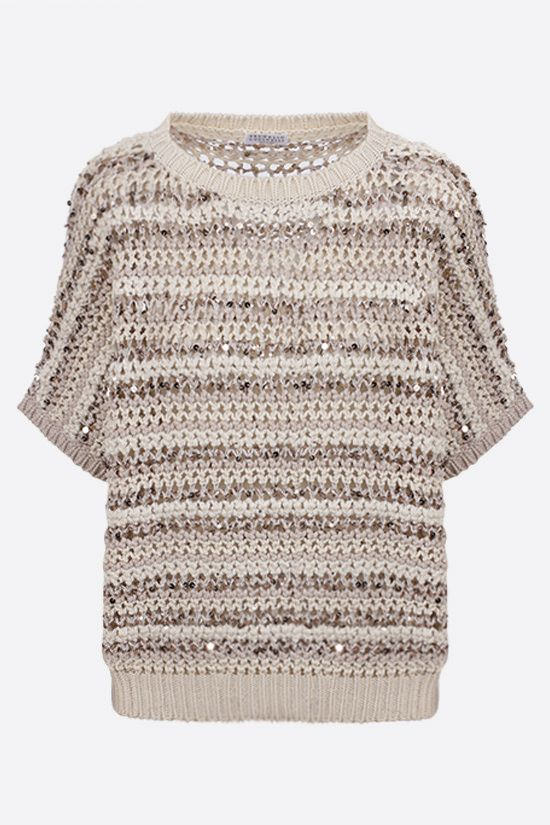 BRUNELLO CUCINELLI: perforated knit short-sleeved pullover Color Neutral_1