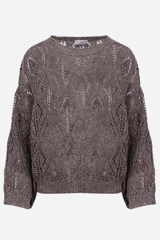 BRUNELLO CUCINELLI: sequin-embellished perforated knit pullover Color Gold_1