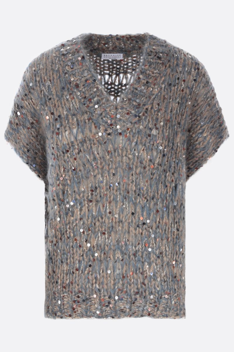 BRUNELLO CUCINELLI: sequinned mohair blend sleeveless pullover Color Multicolor_1