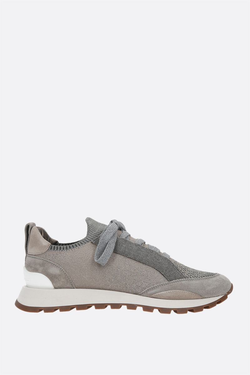 BRUNELLO CUCINELLI: Precious Contour-detailed Sparkling knit and suede sneakers_1