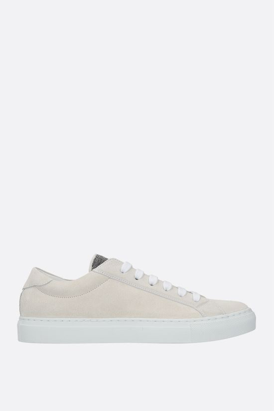 BRUNELLO CUCINELLI: Precious Tongue-detailed suede sneakers Color Neutral_1