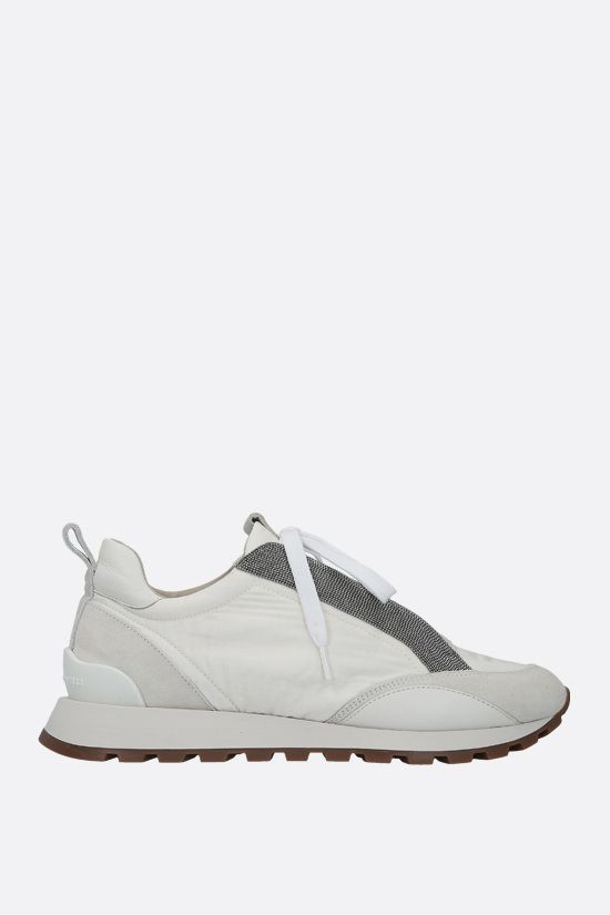 BRUNELLO CUCINELLI: Rip Stop fabric and suede sneakers Color White_1