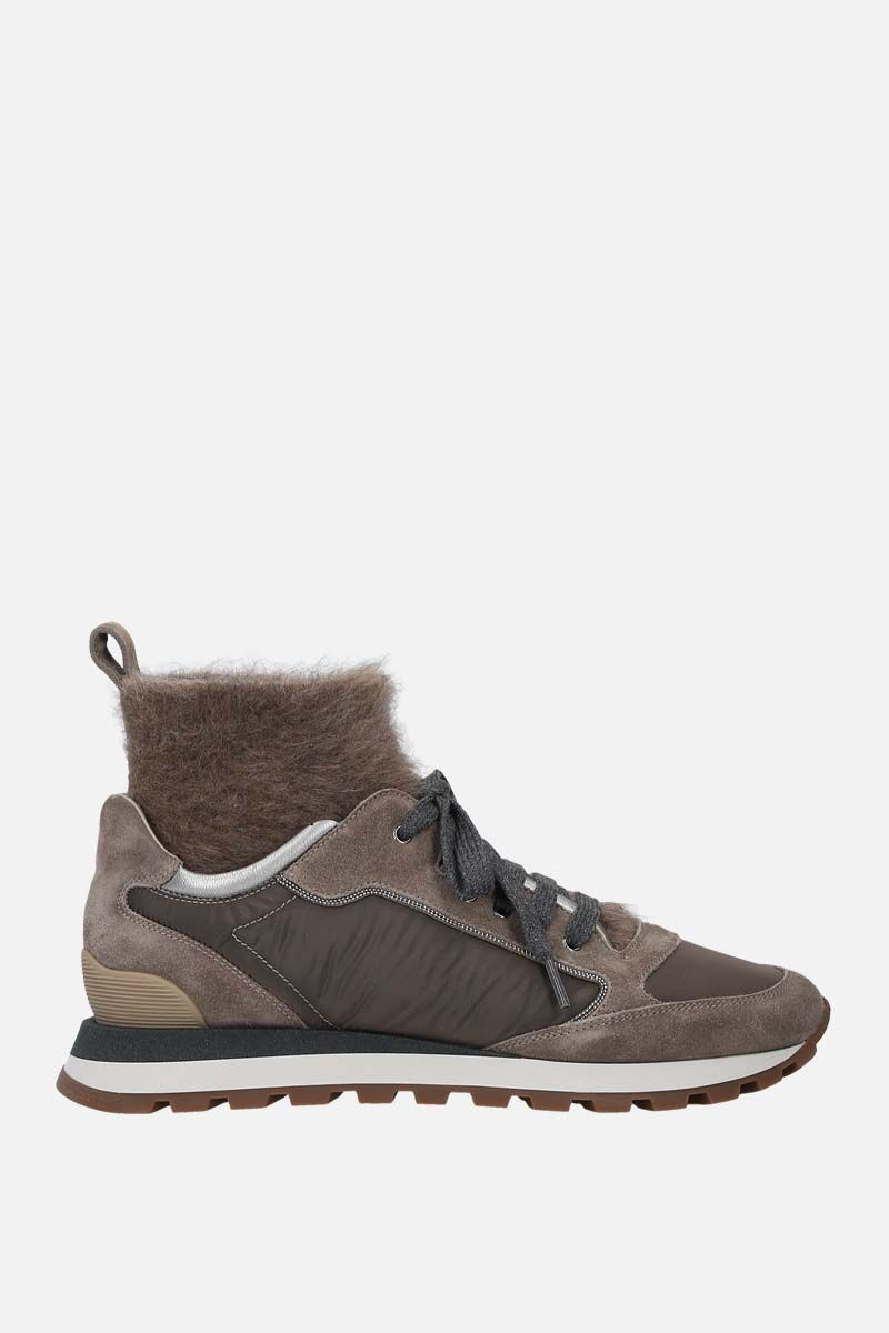 BRUNELLO CUCINELLI: high-top sneakers in a mix of materials Color Neutral_1