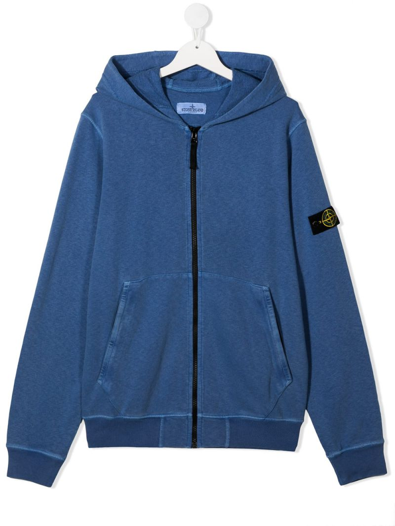 STONE ISLAND JUNIOR: logo badge-detailed cotton full-zip hoodie Color Purple_1