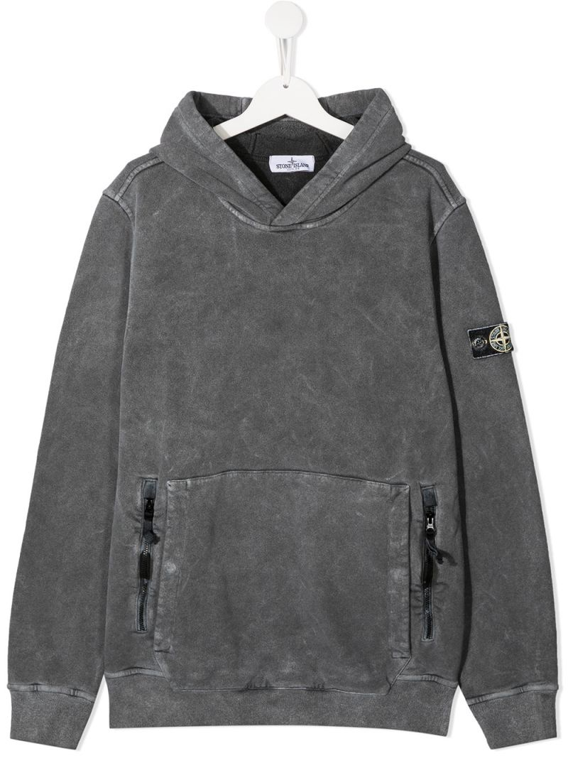 STONE ISLAND JUNIOR: logo badge-detailed cotton hoodie Color Neutral_1