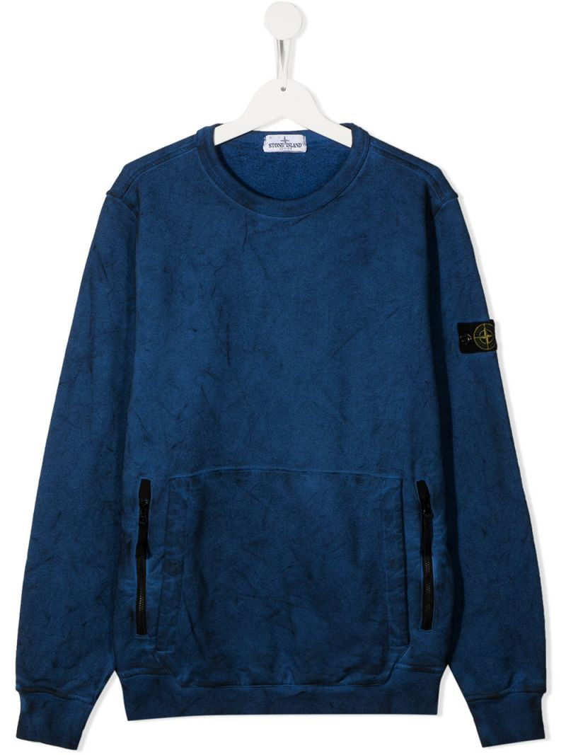STONE ISLAND JUNIOR: logo badge-detailed cotton sweatshirt Color Blue_1