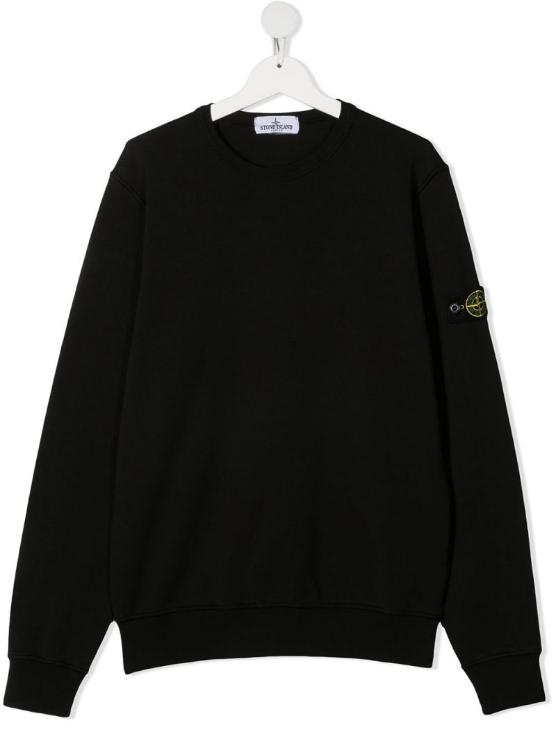 STONE ISLAND JUNIOR: logo badge-detailed cotton sweatshirt Color Black_1