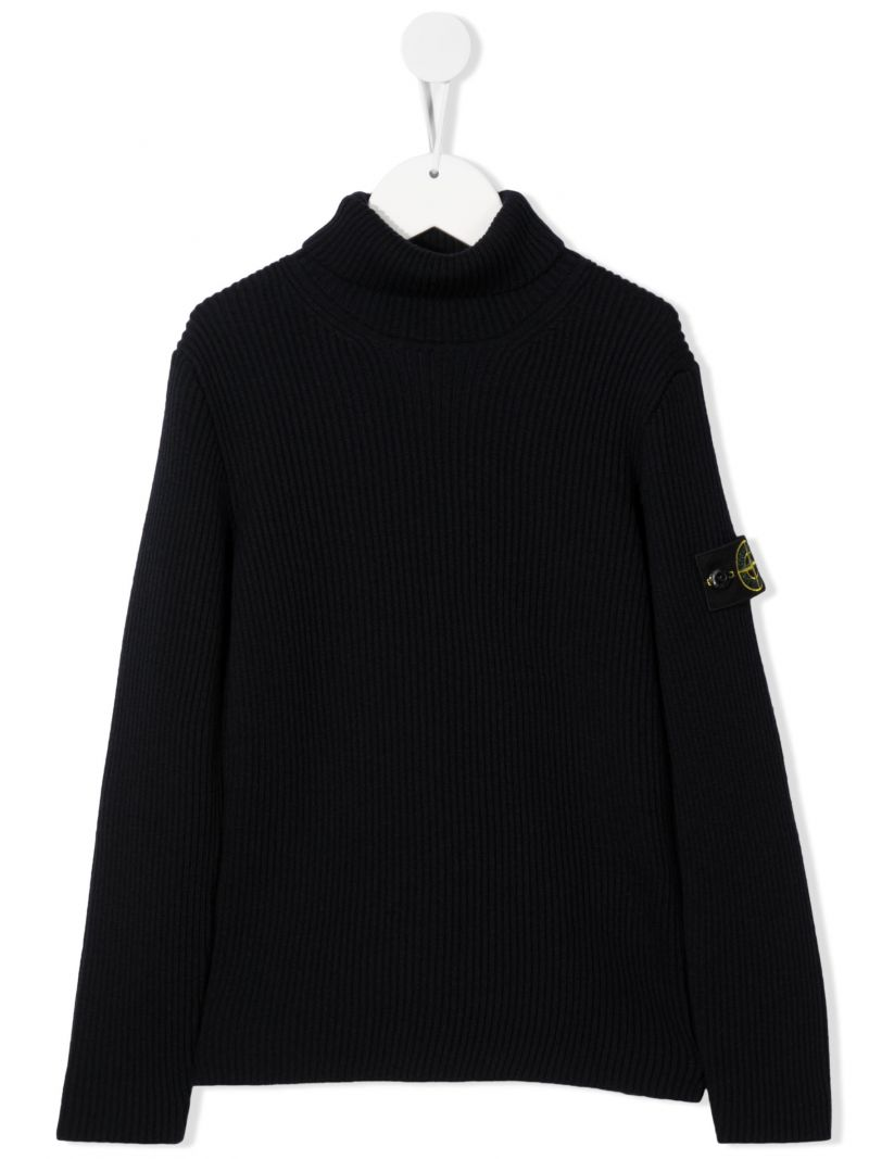 STONE ISLAND JUNIOR: logo badge-detailed wool pullover Color Blue_1