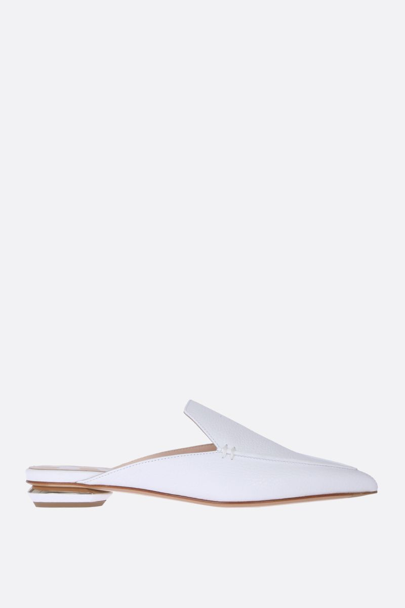 NICHOLAS KIRKWOOD: Beya mules in tumbled calfskin Color White_1