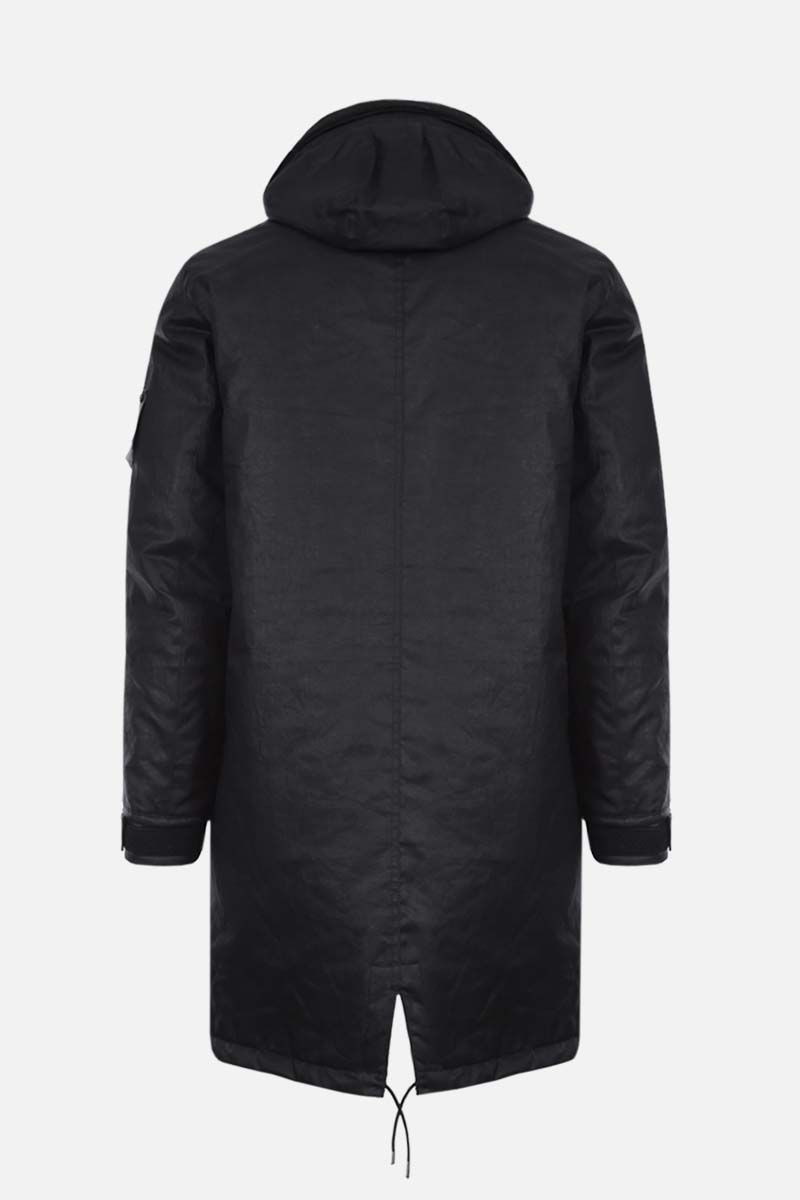 STONE ISLAND SHADOW PROJECT: rubberized linen padded jacket Color Black_2
