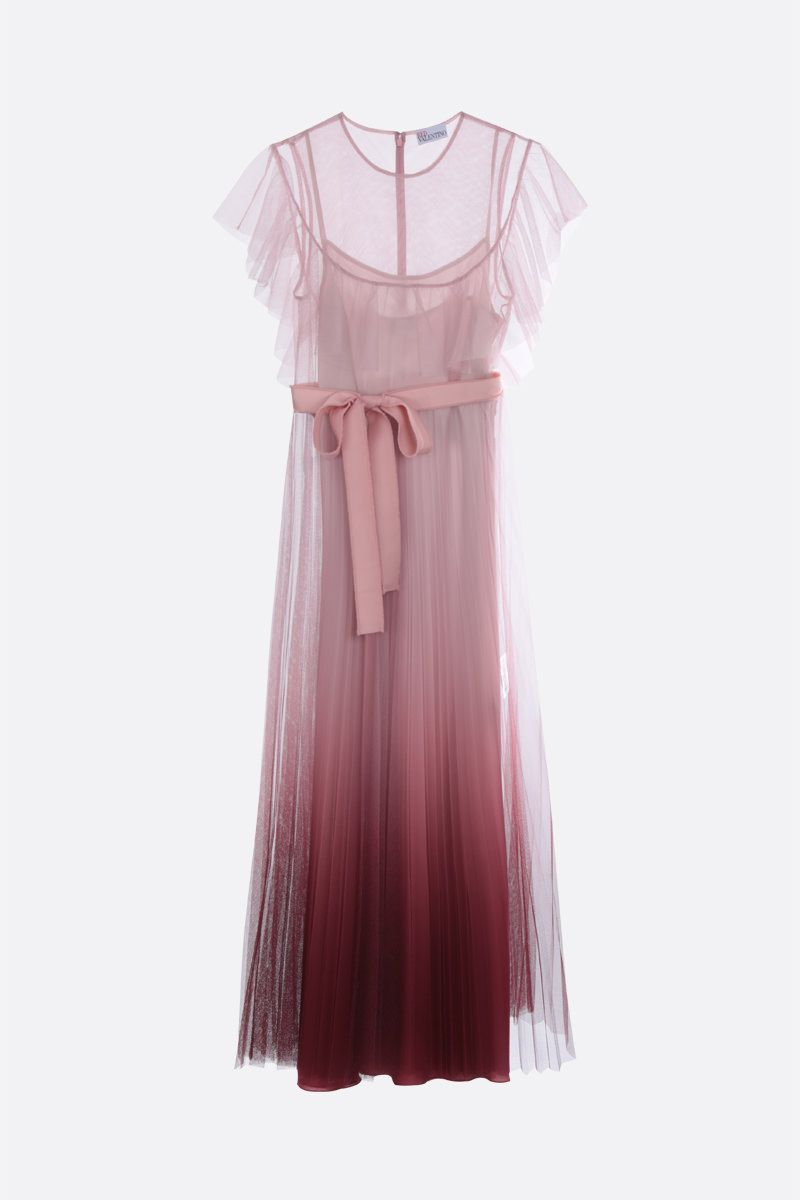 RED VALENTINO: degradè tulle long dress Color Pink_1