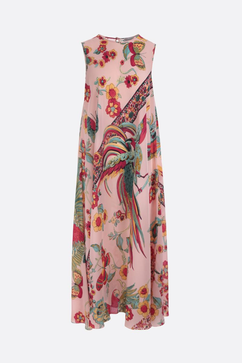 RED VALENTINO: printed crepe de chine long dress Color Neutral_1