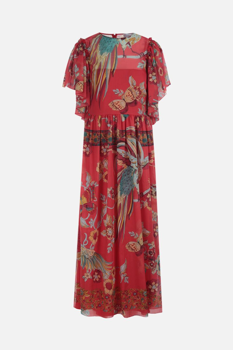RED VALENTINO: printed cotton silk voile long dress Color Red_1