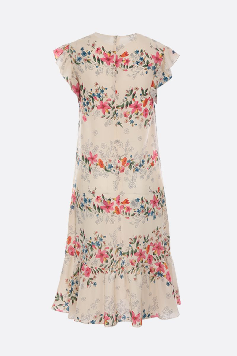 RED VALENTINO: floral printed crepe de chine short dress Color White_2