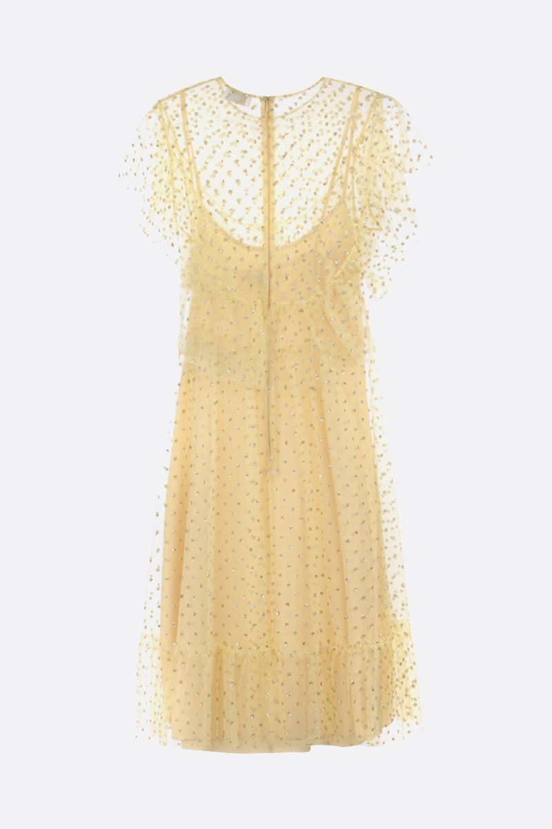 RED VALENTINO: glitter polka dot tulle sleeveless dress Color Yellow_2