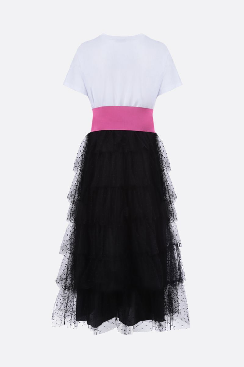 RED VALENTINO: point d'esprit tulle and jersey midi dress Color White_2