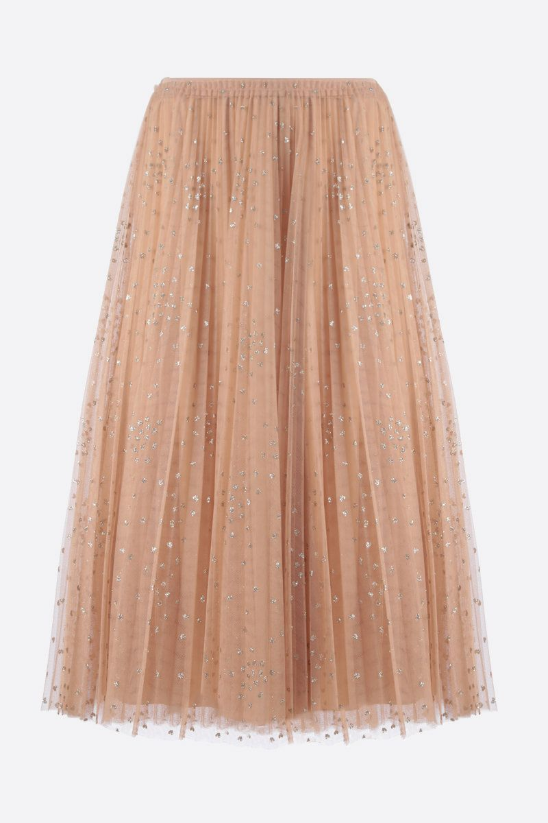 RED VALENTINO: glitter polka dot tulle pleated skirt Color Neutral_1