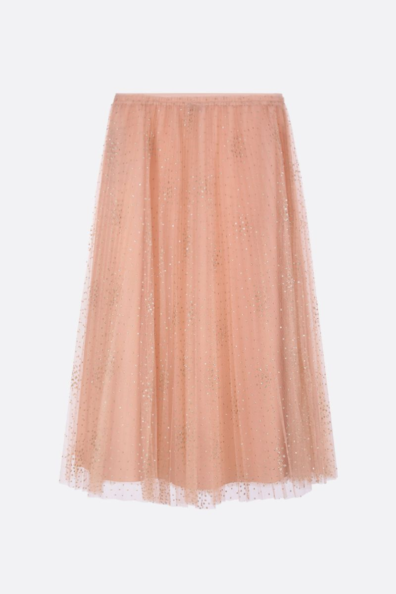 RED VALENTINO: glitter polka dot tulle pleated skirt Color Pink_2