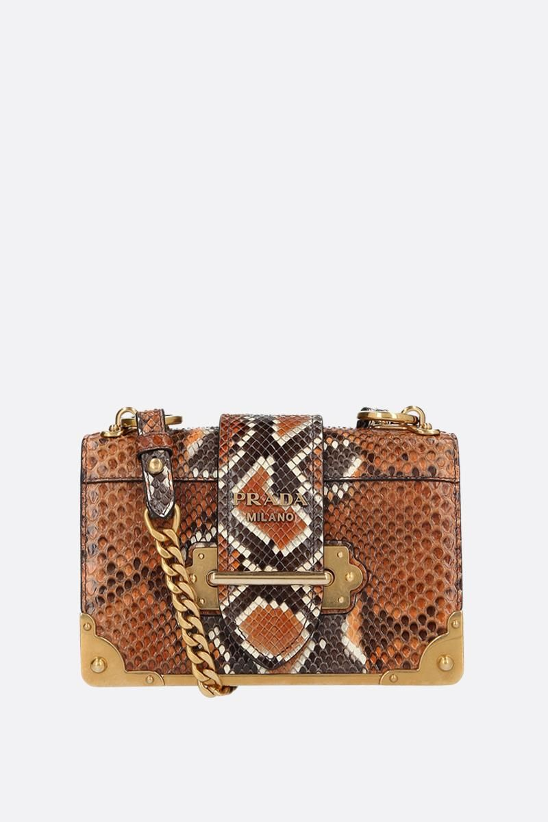 PRADA: Prada Cahier mini bag in python leather Color Brown_1