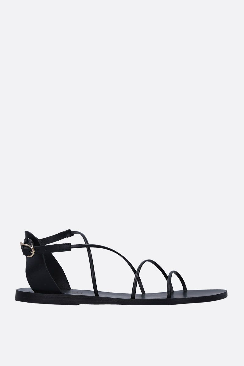 ANCIENT GREEK SANDALS: Meloivia flat sandals in smooth leather Color Black_1