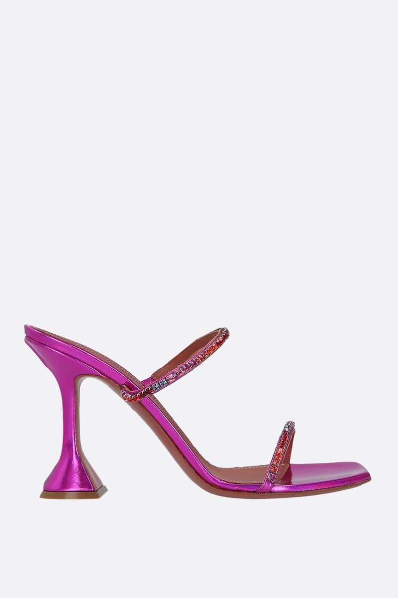 AMINA MUADDI: Gilda hologram leather mule sandals Color Pink_1