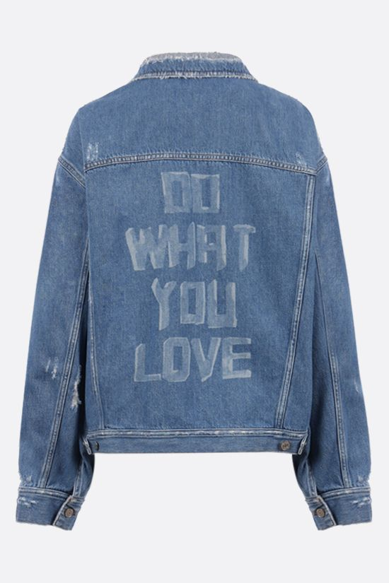 GOLDEN GOOSE DELUXE BRAND: Babette oversize printed denim jacket Color Blue_2