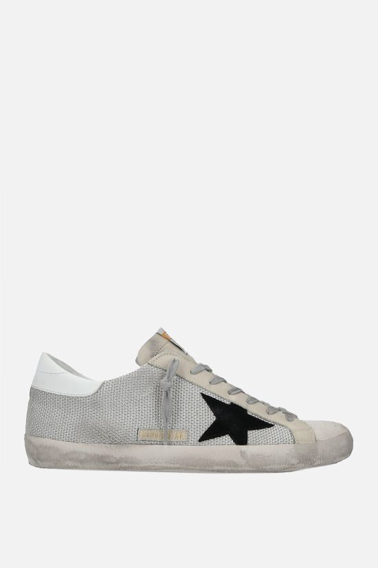 GOLDEN GOOSE DELUXE BRAND: Superstar mesh and smooth leather sneakers Color White_1