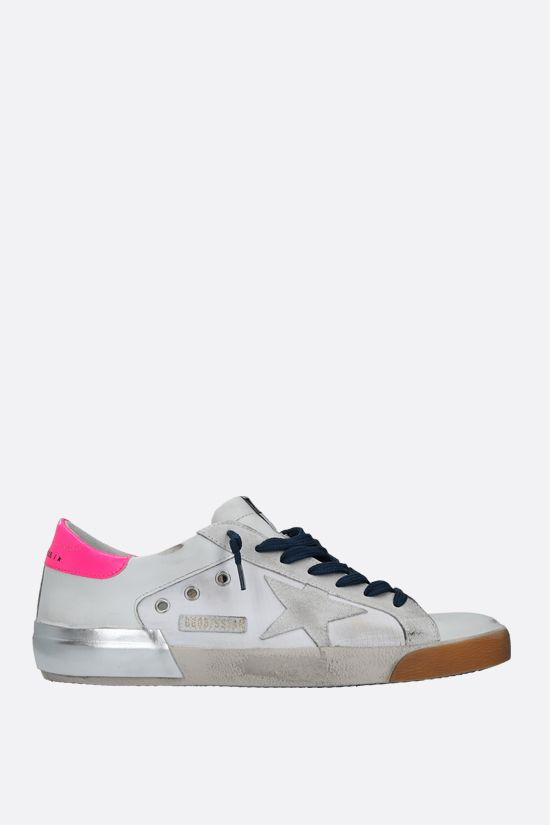 GOLDEN GOOSE DELUXE BRAND: Superstar smooth leather and ripstop fabric sneakers Color White_1