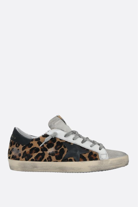 GOLDEN GOOSE DELUXE BRAND: Superstar calf hair and suede sneakers Color Animalier_1
