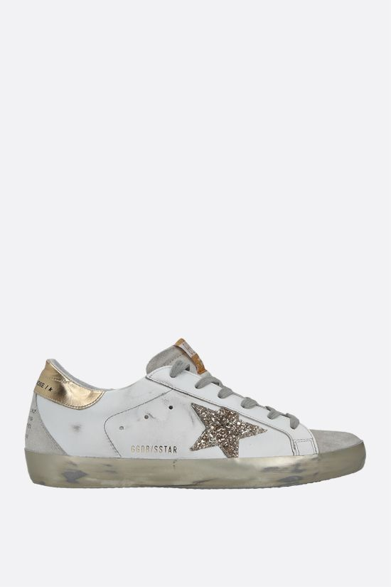 GOLDEN GOOSE DELUXE BRAND: Superstar smooth leather and suede sneakers Color Gold_1