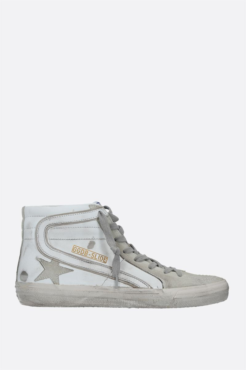 GOLDEN GOOSE DELUXE BRAND: Slide smooth leather and suede high-top sneakers Color Multicolor_1