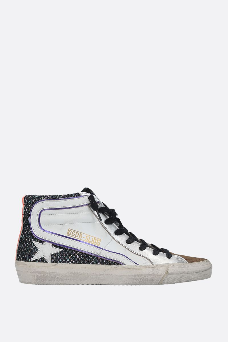GOLDEN GOOSE DELUXE BRAND: Slide smooth leather and glitter high-top sneakers Color Multicolor_1