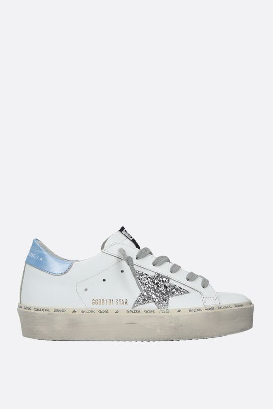 GOLDEN GOOSE DELUXE BRAND: Hi Star smooth leather flatform sneakers Color White_1