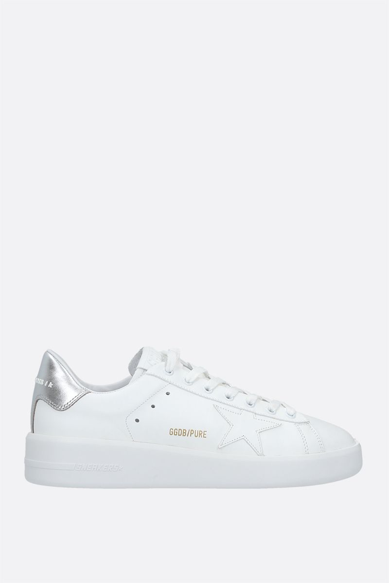 GOLDEN GOOSE DELUXE BRAND: Purestar smooth leather sneakers Color White_1