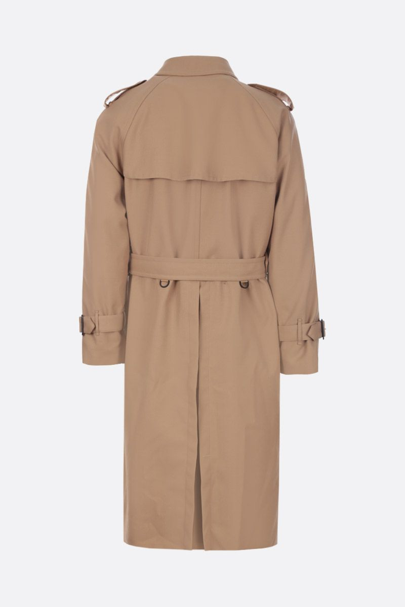 GOLDEN GOOSE DELUXE BRAND: Hitoshi double-breasted trench coat in wool gabardine Color Neutral_3