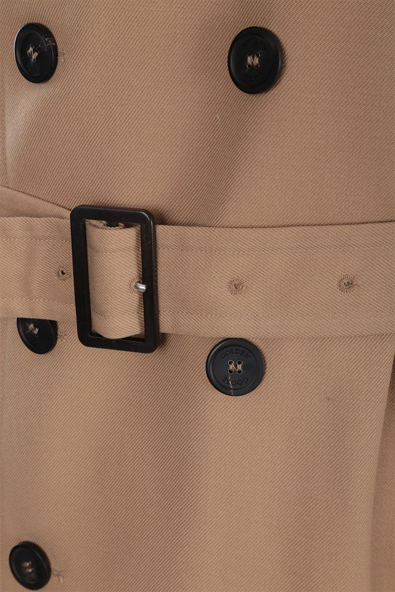 GOLDEN GOOSE DELUXE BRAND: Hitoshi double-breasted trench coat in wool gabardine Color Neutral_4
